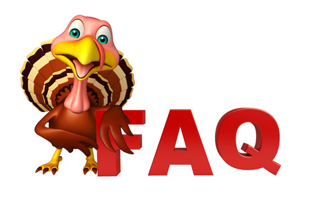 3d turkey: 3d rendered illustration of Turkey cartoon character with faq sign