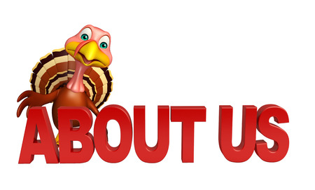 'about us': 3d rendered illustration of Turkey cartoon character with about us sign