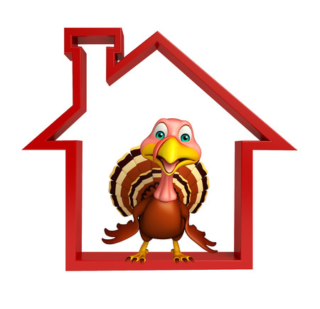 3d turkey: 3d rendered illustration of Turkey cartoon character with home sign Stock Photo