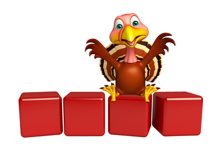 3d turkey: 3d rendered illustration of Turkey cartoon character with level Stock Photo
