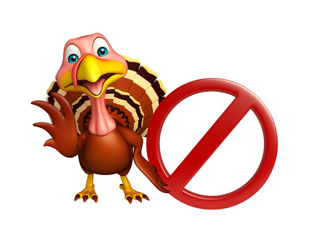 traffic ticket: 3d rendered illustration of Turkey cartoon character with stop sign Stock Photo