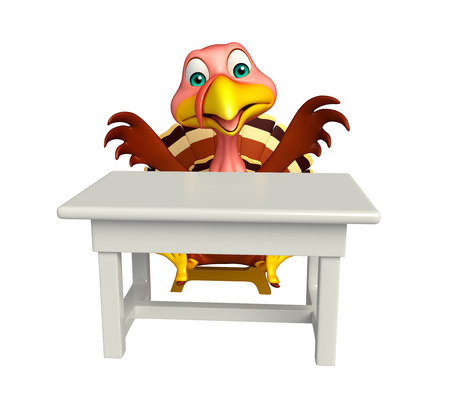 comfort food: 3d rendered illustration of Turkey cartoon character with table and chair