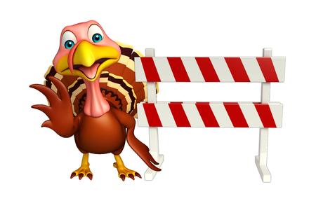 constuction: 3d rendered illustration of Turkey cartoon character wirh baracade Stock Photo