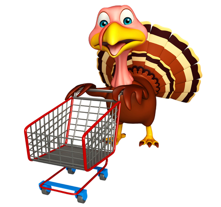 trolly: 3d rendered illustration of Turkey cartoon character with trolly Stock Photo