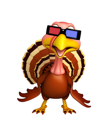 3d turkey: 3d rendered illustration of Turkey cartoon character with 3D gogal