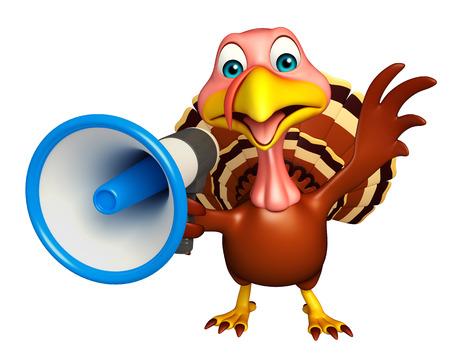 loud speaker: 3d rendered illustration of Turkey cartoon character with loud speaker