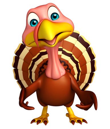 funny turkey: 3d rendered illustration of funny Turkey cartoon character