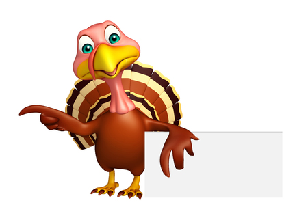 toonimal: 3d rendered illustration of Turkey cartoon character with board