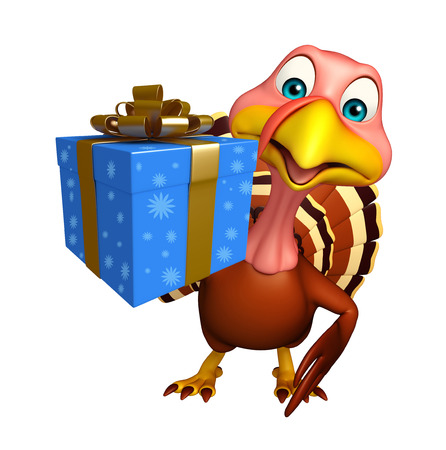 3d turkey: 3d rendered illustration of Turkey cartoon character with gift box Stock Photo