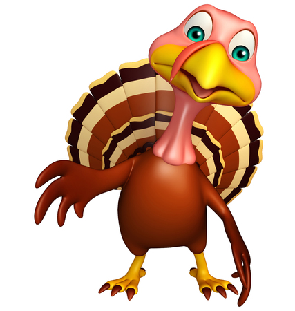 3d turkey: 3d rendered illustration of Pointing Turkey cartoon character Stock Photo