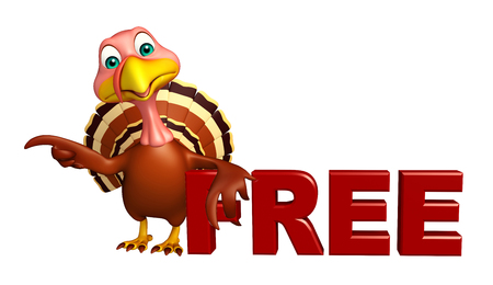 3d turkey: 3d rendered illustration of Turkey cartoon character with free sign