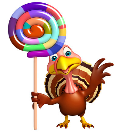 lollypop: 3d rendered illustration of Turkey cartoon character with lollypop