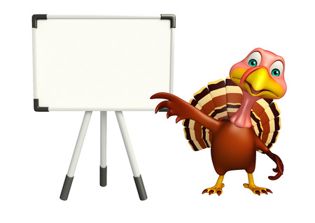 display board: 3d rendered illustration of Turkey cartoon character with display board