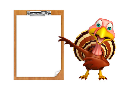 3d turkey: 3d rendered illustration of Turkey cartoon character with exam pad