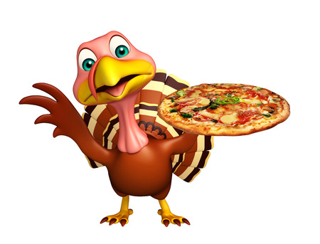 3d turkey: 3d rendered illustration of Turkey cartoon character with pizza Stock Photo