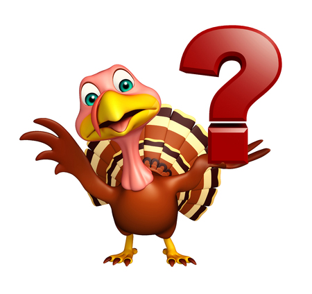 3d turkey: 3d rendered illustration of Turkey cartoon character with question sign