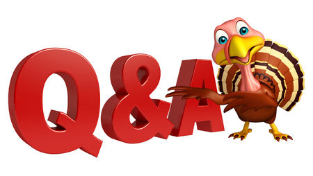 3d turkey: 3d rendered illustration of Turkey cartoon character with Q&A sign