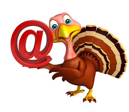 toonimal: 3d rendered illustration of Turkey cartoon character with at the rate sign