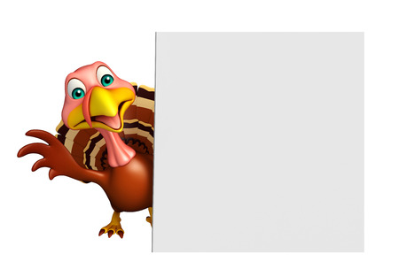 3d turkey: 3d rendered illustration of Turkey cartoon character with board