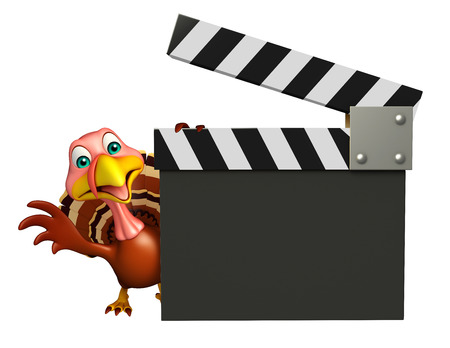 clapboard: 3d rendered illustration of Turkey cartoon character with clapboard
