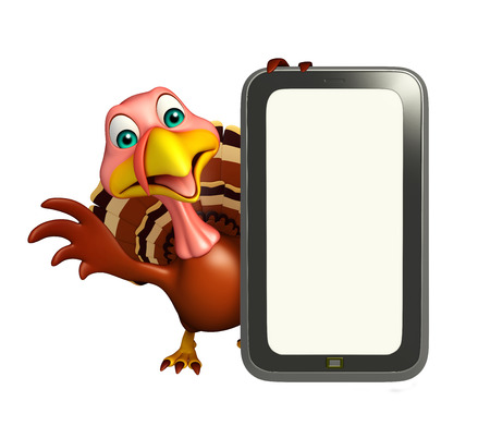 3d turkey: 3d rendered illustration of Turkey cartoon character with mobile Stock Photo