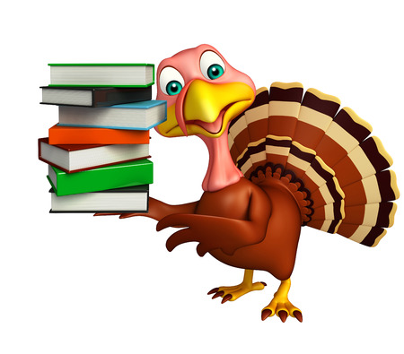 3d turkey: 3d rendered illustration of Turkey cartoon character with books