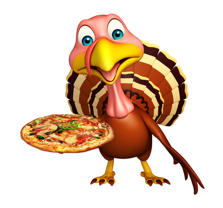 3d pizza: 3d rendered illustration of Turkey cartoon character with pizza Stock Photo
