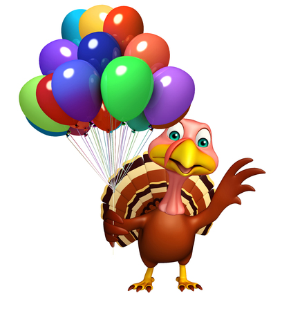 baloon: 3d rendered illustration of Turkey cartoon character with baloon