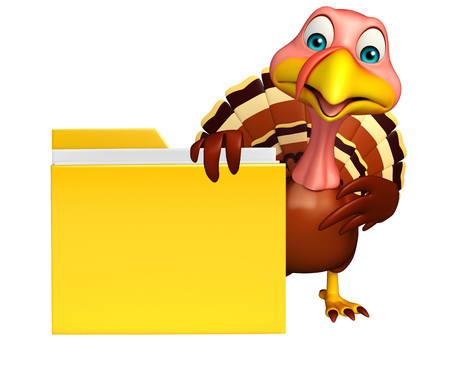 3d turkey: 3d rendered illustration of Turkey cartoon character with folder