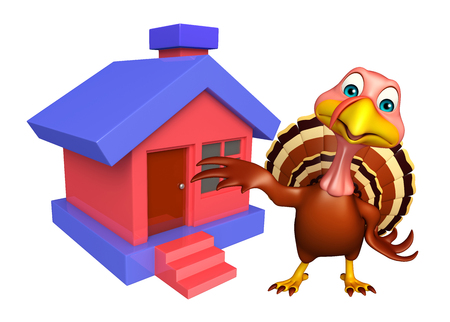 3d turkey: 3d rendered illustration of Turkey cartoon character with home Stock Photo