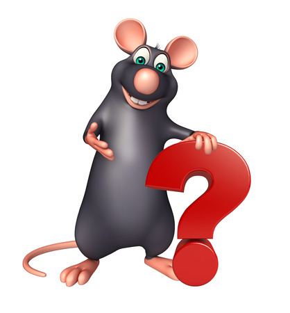 3d rendered illustration of Rat cartoon character with question sign
