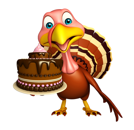 fudge: 3d rendered illustration of Turkey cartoon character with cake