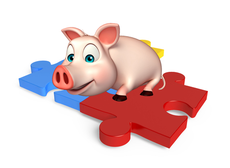 jig saw puzzle: 3d rendered illustration of Pig cartoon character with puzzle
