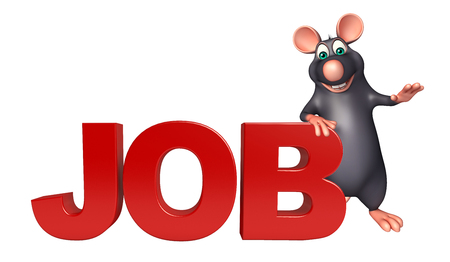 job hunting: 3d rendered illustration of Rat cartoon character with job sign