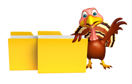 toonimal: 3d rendered illustration of Turkey cartoon character with folder