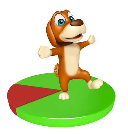 friend chart: 3d rendered illustration of Dog cartoon character  with circle sign Stock Photo