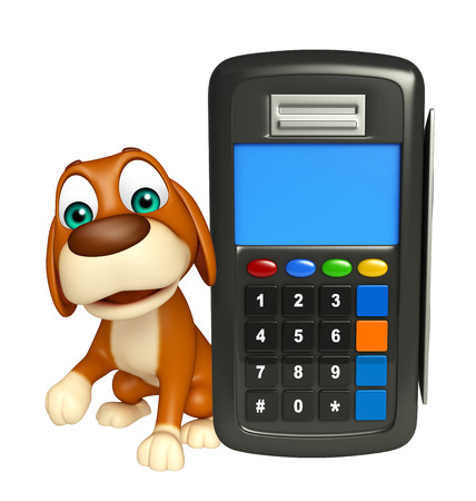 3d rendered illustration of Dog cartoon character  with swap machine