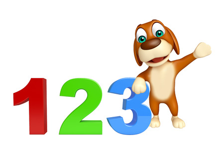 dog sled: 3d rendered illustration of Dog cartoon character  with 123 sign