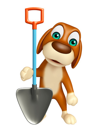 digging: 3d rendered illustration of Dog cartoon character  with digging shovel Stock Photo
