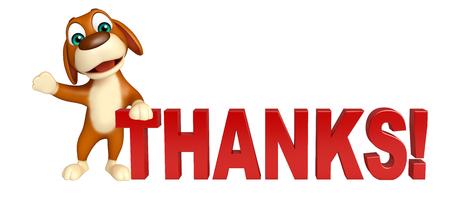 3d teruggegeven illustratie van de hond stripfiguur met dank teken