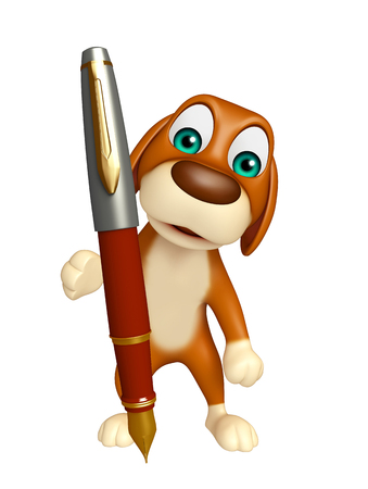 dog pen: 3d rendered illustration of Dog cartoon character  with pen Stock Photo