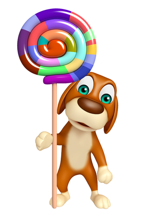 lollypop: 3d rendered illustration of Dog cartoon character  with lollypop