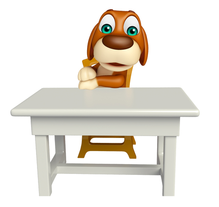 tabletop: 3d rendered illustration of Dog cartoon character  with table and chair Stock Photo