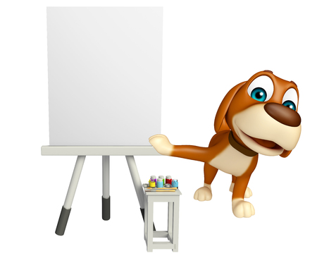 publicity: 3d rendered illustration of Dog cartoon character  with white board Stock Photo