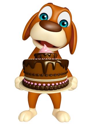tortas de cumpleaños: 3d rindió la ilustración de personaje de dibujos animados Perro con la torta