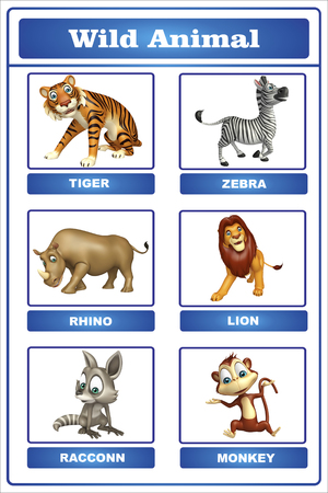 wildlife conservation: 3d rendered illustration of wild animal chart
