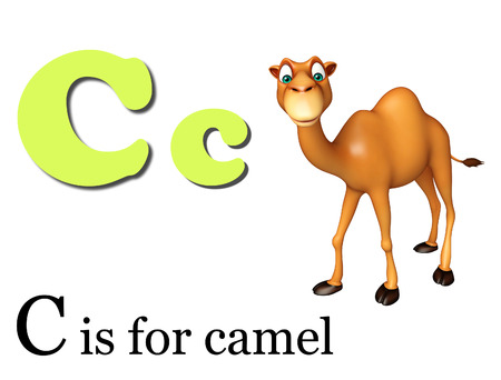english village: 3d rendered illustration of Camel domastic animal with alphabates