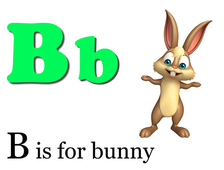 fondo para bebe: 3d rendered illustration of Bunny wild animal with alphabte
