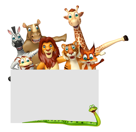 white poster: 3d rendered illustration of wild animal with white board Stock Photo
