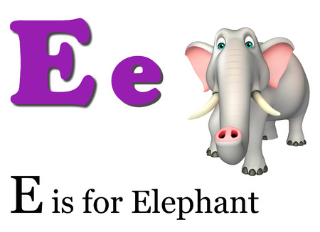 wild animal: 3d rendered illustration of Elephant wild animal with alphabate